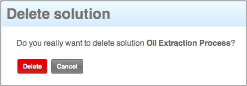 Delete Solution Screen